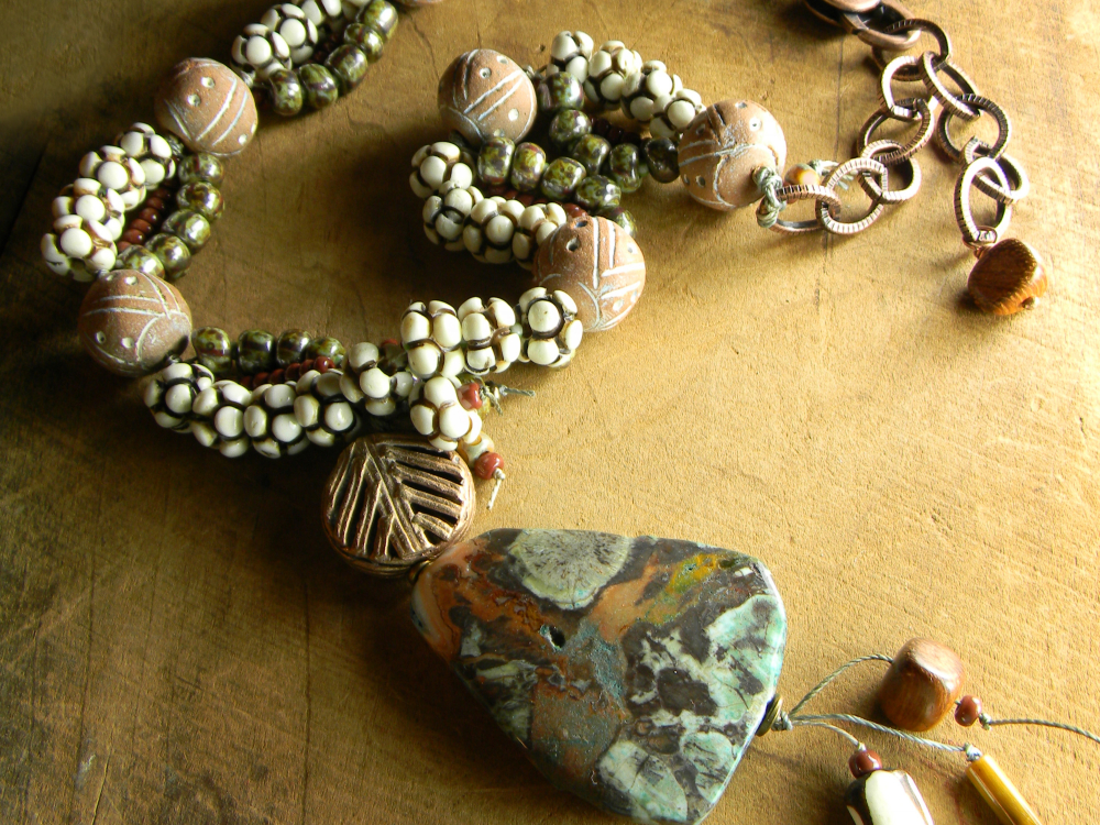 Raw Stone Necklace Minimal Necklace African Green Turquoise Stone Pendant Necklace Earthy Pendant Green Jasper Necklace