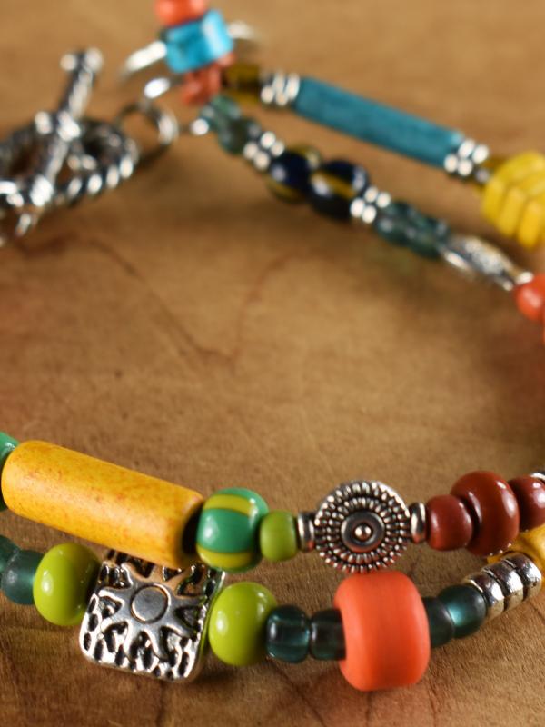 Greek ceramic beads in an original design by Gloria Ewing.