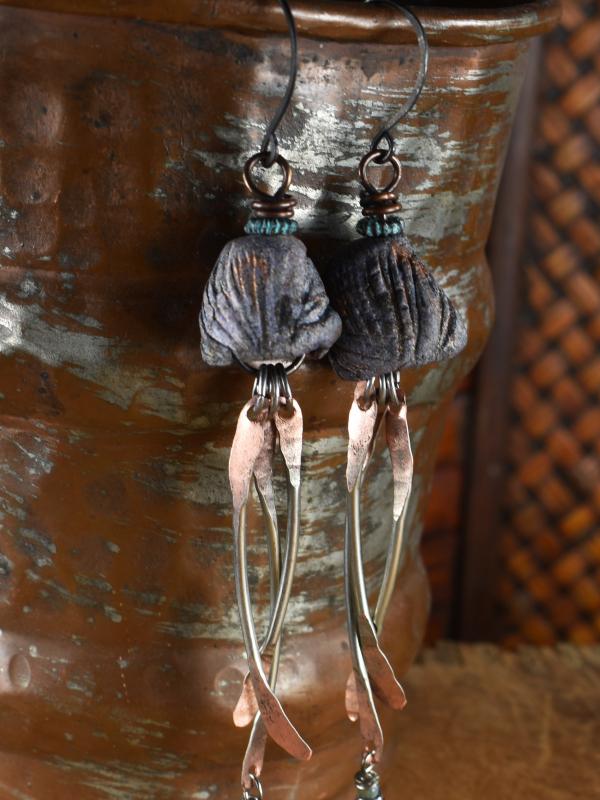 Boho mood bead hammered dangle earrings by Gloria Ewing.
