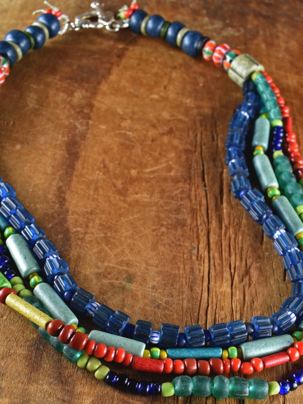 Colorful Greek Mykonos ceramic beaded necklace by Gloria Ewing.