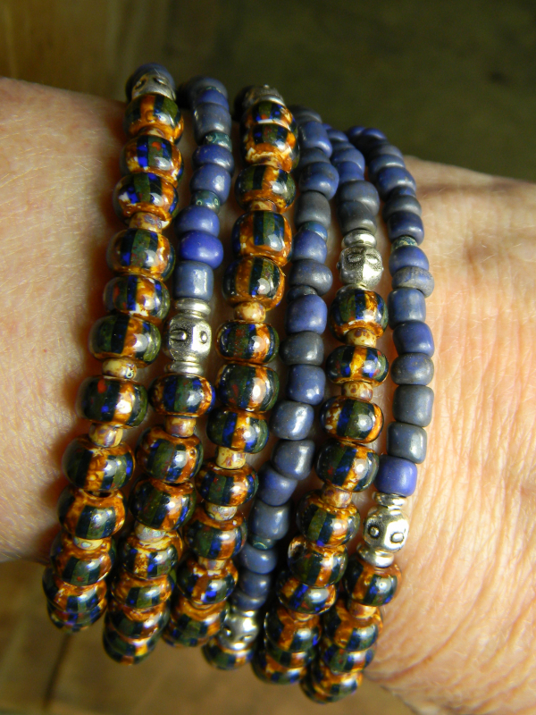 Bold beaded design with striped seed beads and pewter.
