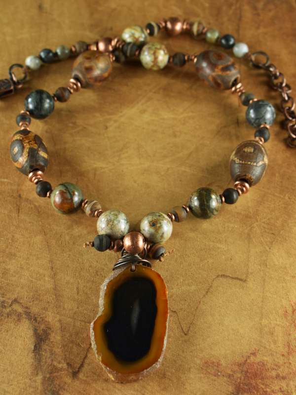 Choker length beaded necklace with jasper and agate.