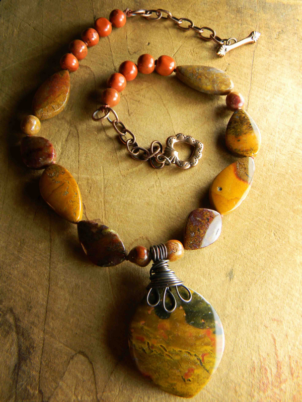Rustic agate, jasper and copper design by Gloria Ewing.