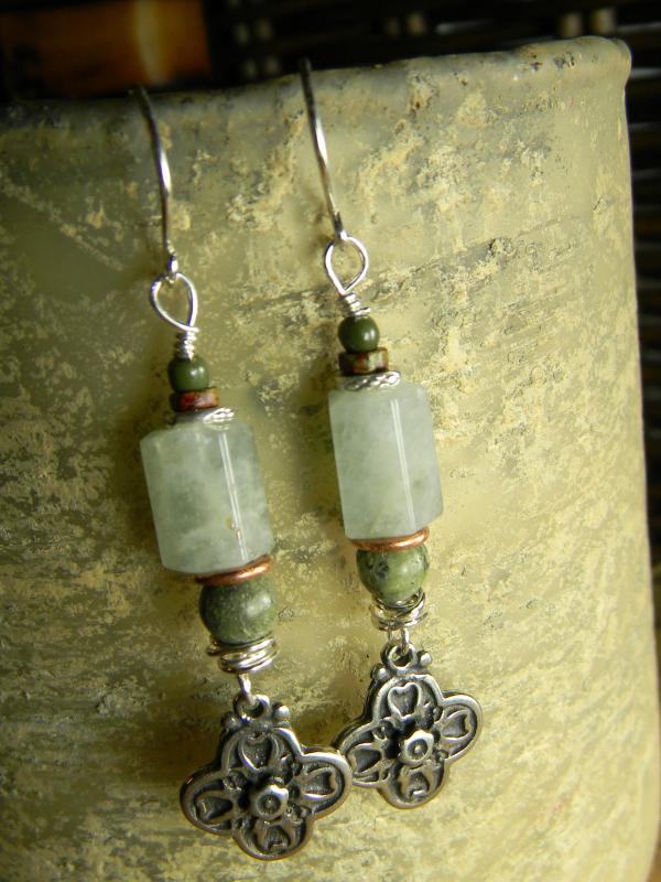 Bohemian Sterling Silver Cross Earrings