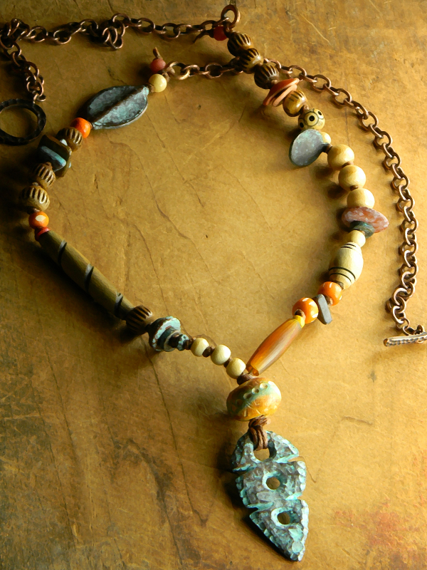 Primitive knotted necklace by Gloria Ewing.