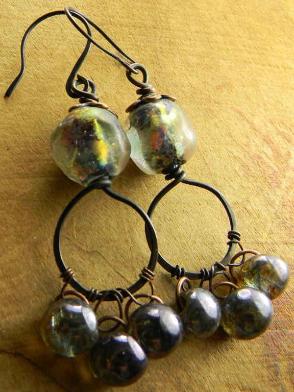 Copper hoop chandelier earrings by Gloria Ewing.