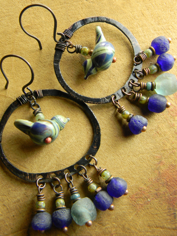 Chandelier earrings by Gloria Ewing, with lampwork bird beads.