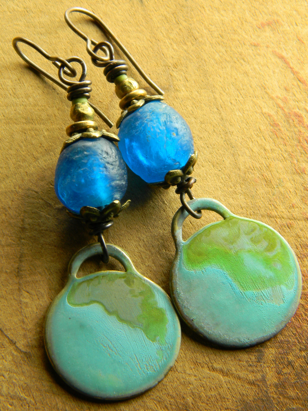 Patina brass with African glass design by Gloria Ewing.