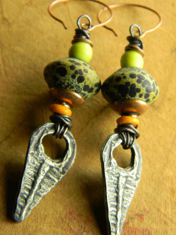 Tribal style beaded earrings with Tanfouk drops by Chrysalis.