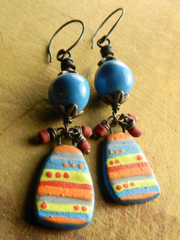 Boho gypsy colorful beaded drop earrings by Gloria Ewing.