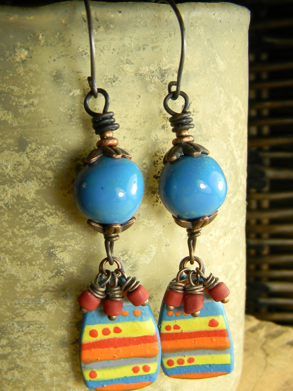 Colorful stripe and dot drop earrings by Gloria Ewing.