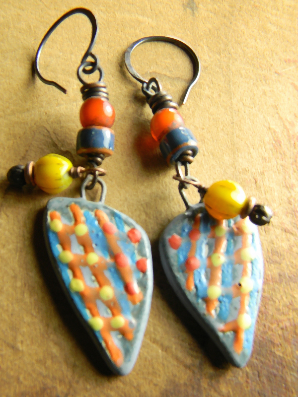 Artisan ceramic and ethnic beaded earrings by Gloria Ewing.