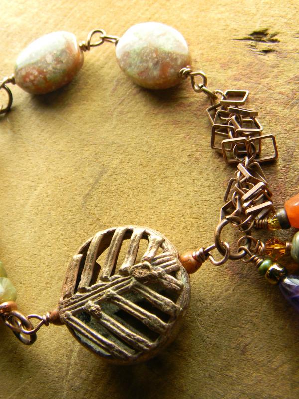 Jasper, jade and aventurine bracelet by Gloria Ewing.