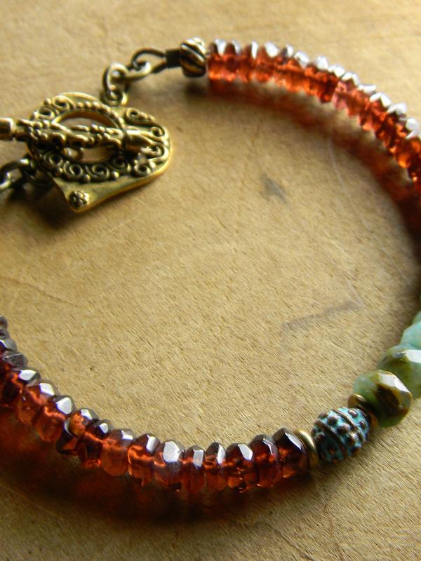 Lovely garnet and green opal beaded bracelet by Gloria Ewing.