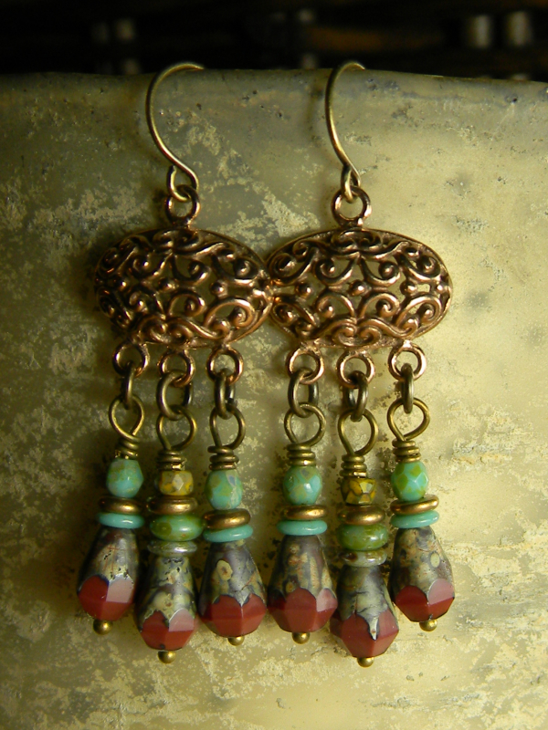 Scaled down beaded chandelier earrings by Gloria Ewing.