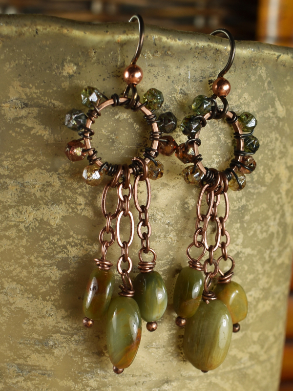 Cats Eye Dangle Earrings from Gloria Ewing.
