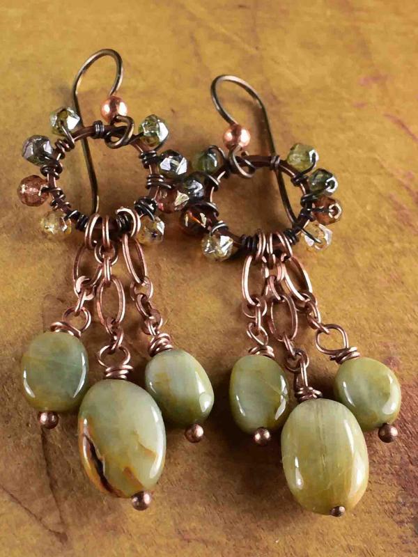 Indian Summer cat's eye earrings from Gloria Ewing.