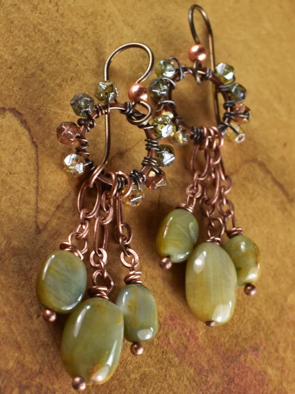 Sparking beaded chandelier earring design from Gloria Ewing.