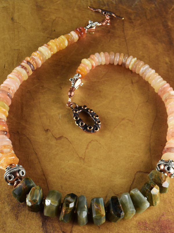 Natural stones with copper and silver by Gloria Ewing.