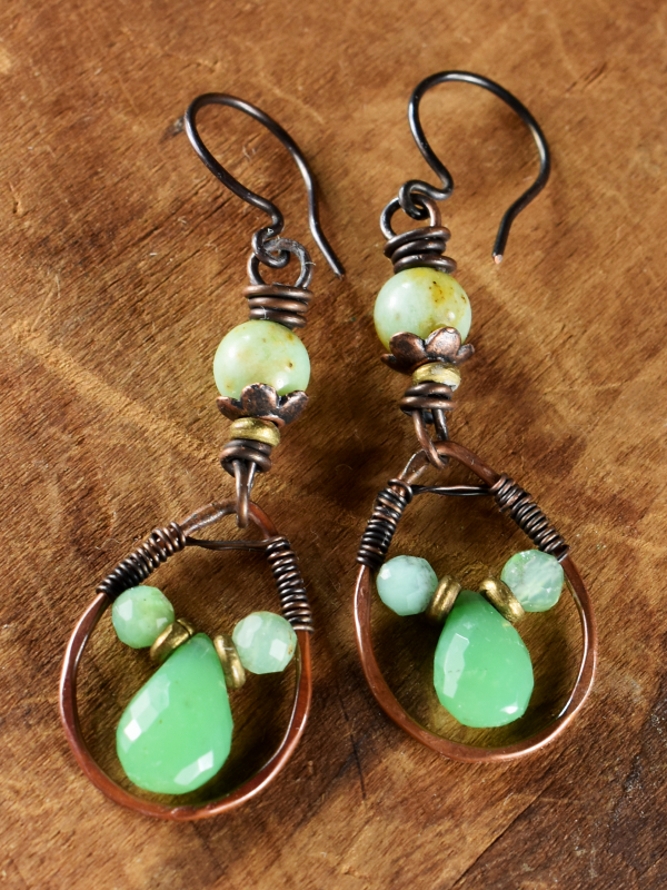 Rustic copper and green chrysoprase in a boho design by Gloria Ewing.