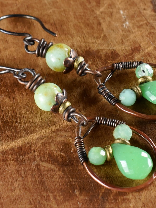 Boho southwestern style copper wire wrapped design by Gloria Ewing.