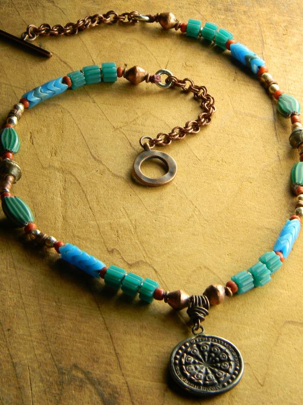 Tribal pendant necklace design by Gloria Ewing.