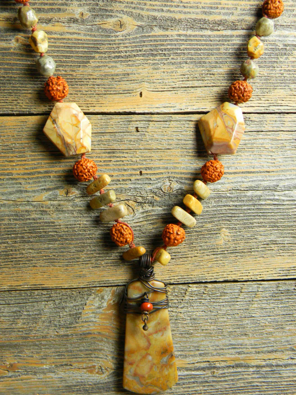 Casual style knotted necklace design by Gloria Ewing.