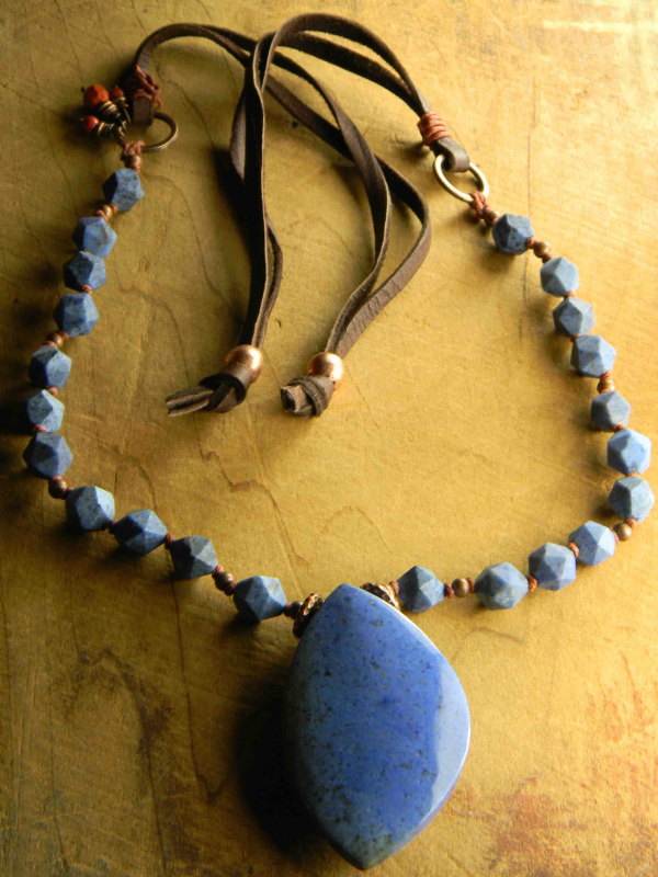 Blue with copper and leather, casual necklace design by Gloria Ewing.