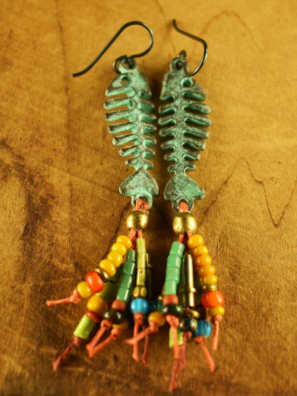 Colorful fringe beaded earrings by Gloria Ewing.