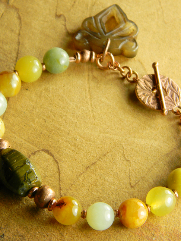 Flower jade with ocean jasper and copper by Gloria Ewing.