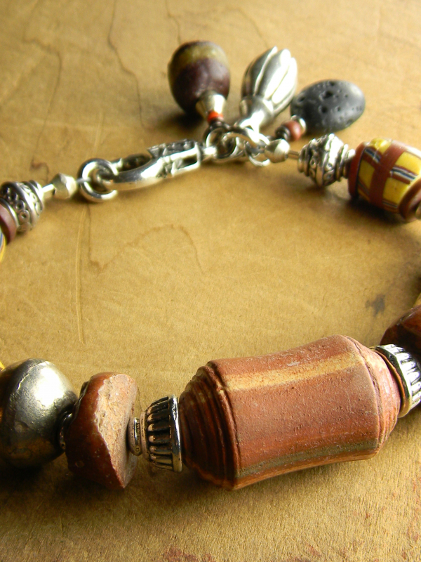 Rustic beaded bracelet with African beads by Gloria Ewing.
