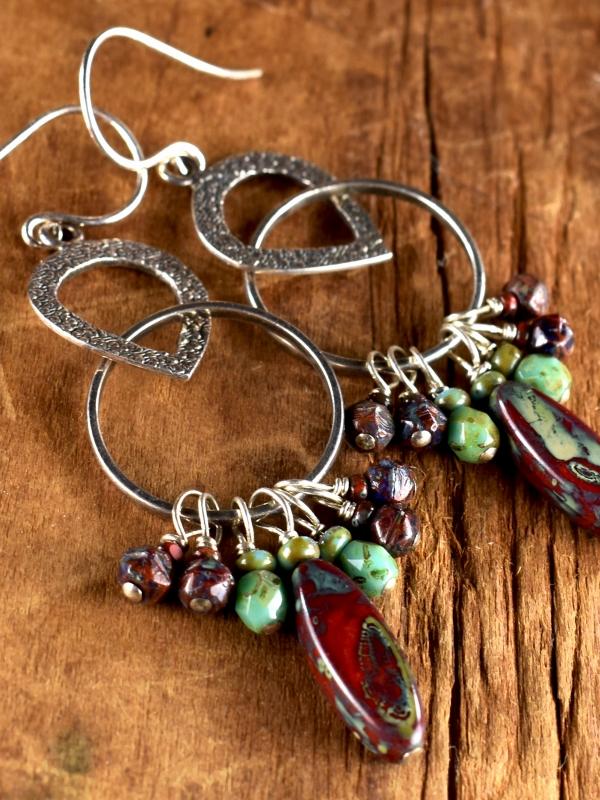 Boho style beaded dangle earrings by Gloria Ewing.