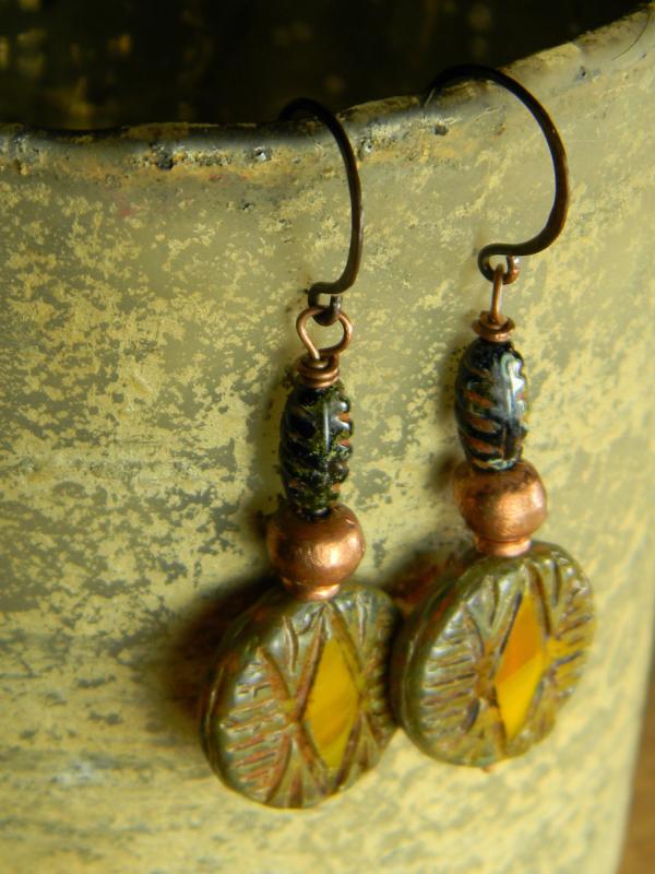 Geometric Pattern Earrings with Rustic Copper