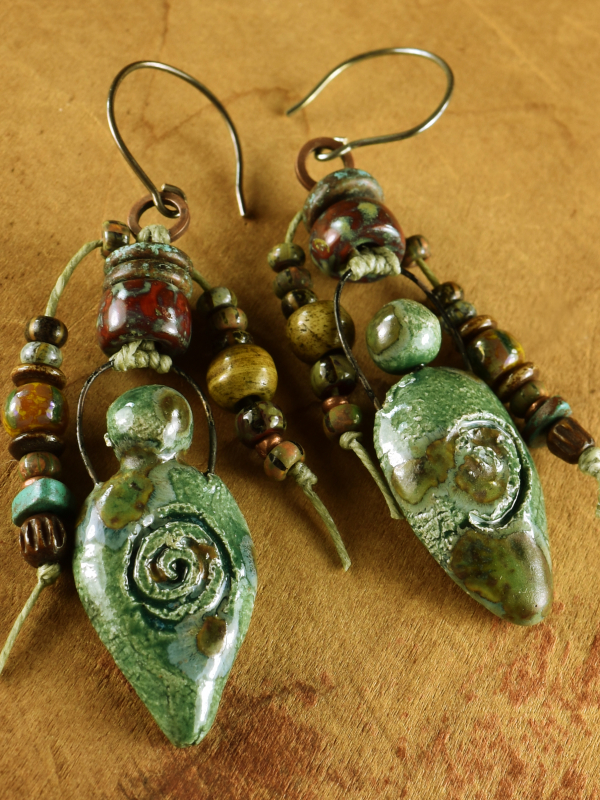 Boho style glazed ceramic goddess earrings.