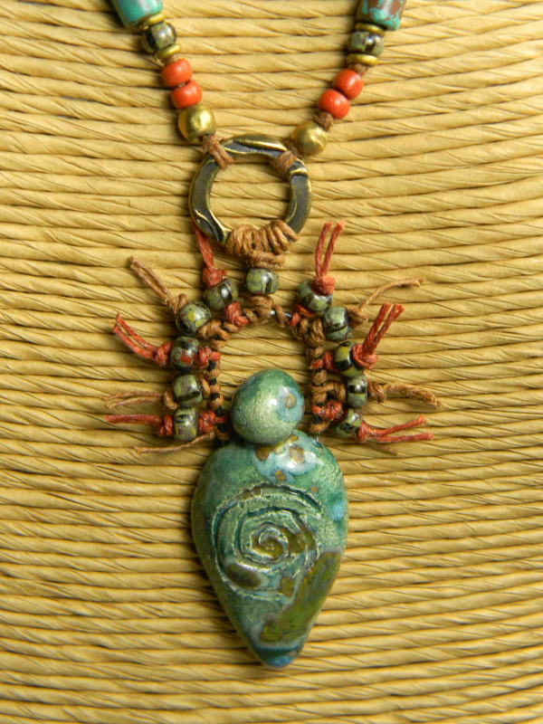 Beaded tribal pendant necklace by Gloria Ewing.