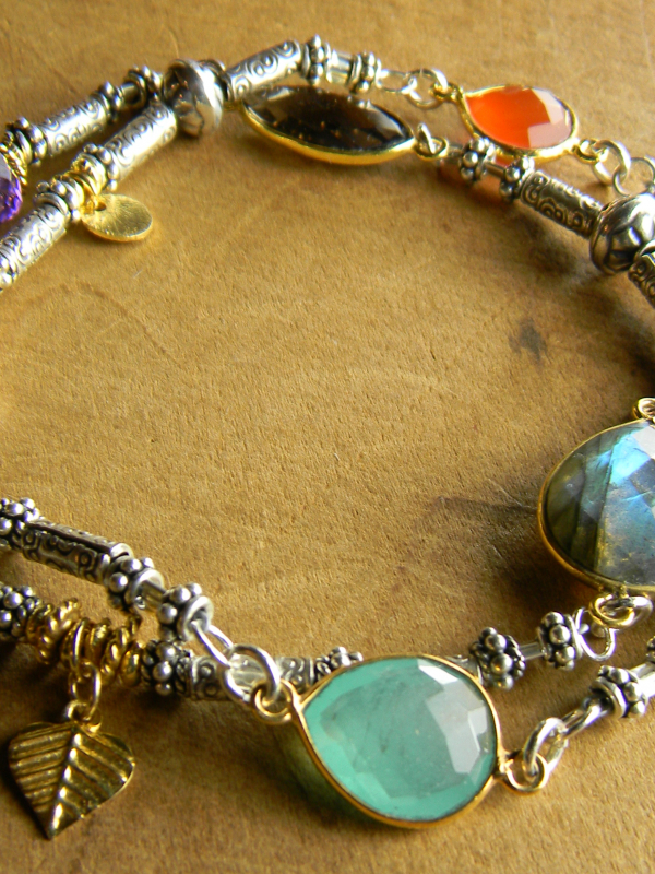 Boho Hill Tribe Bracelet with mixed gems by Gloria Ewing.