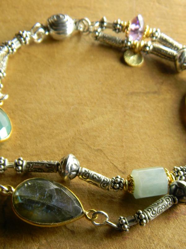 Two strand mixed gemstone bracelet by Gloria Ewing.