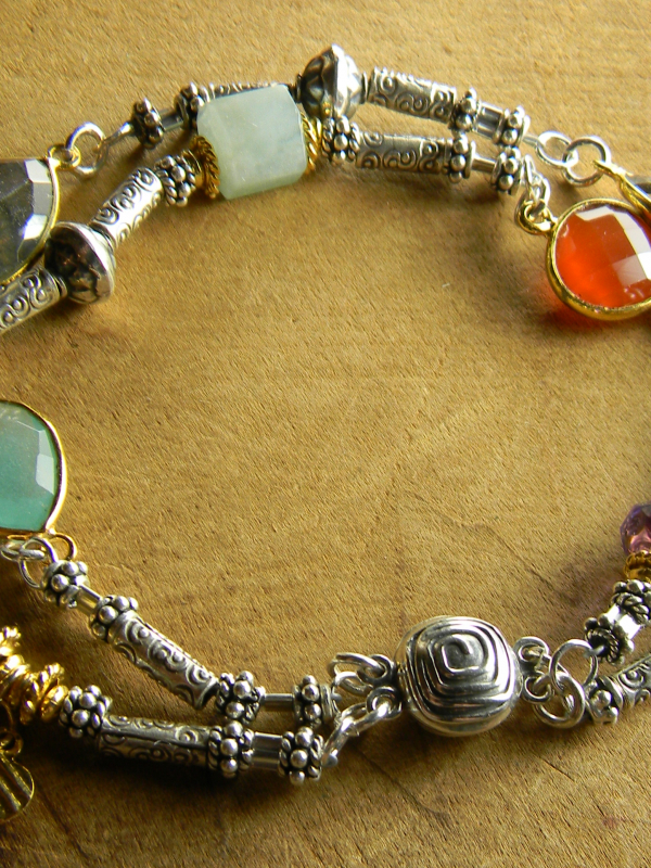 Mixed semi-precious gems with Hill Tribe silver and gold vermeil by Gloria Ewing