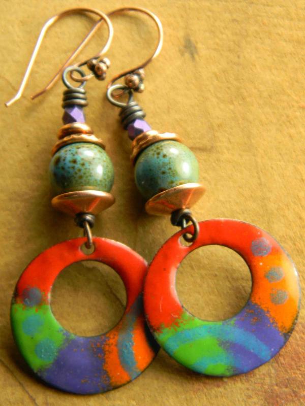 Copper enamel beaded earrings by Gloria Ewing.