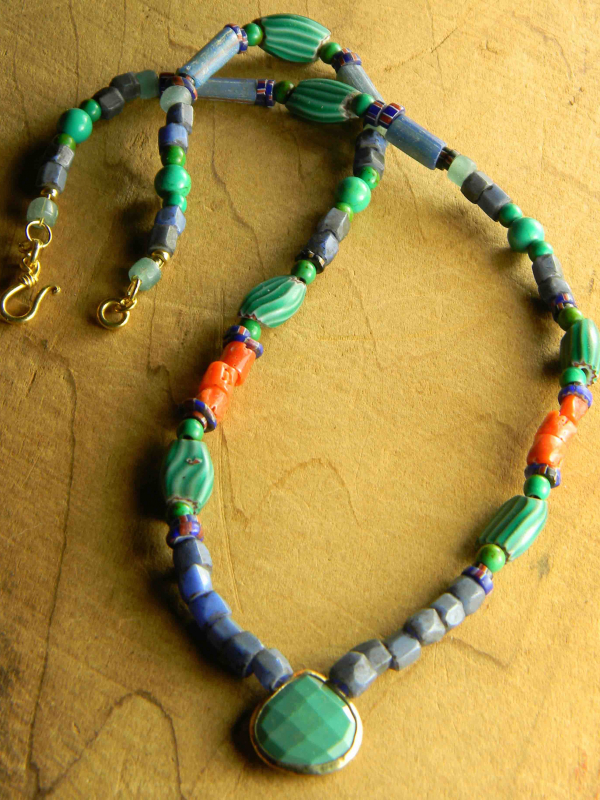Colorful vintage African beads with turquoise by Gloria Ewing.