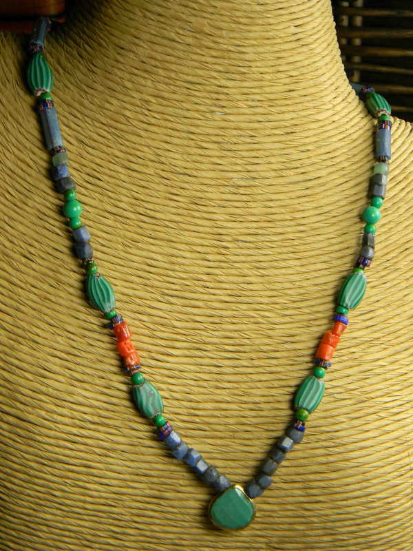 Green turquoise with African trade beads by Gloria Ewing.