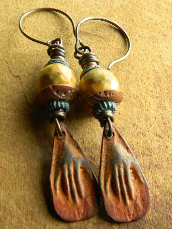 Rustic hand charm earrings with agate beads by Gloria Ewing.