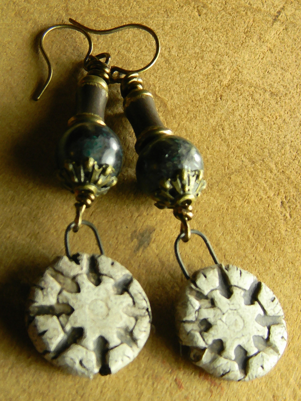 Primitive ceramic drop earrings with chrysocolla by Gloria Ewing.