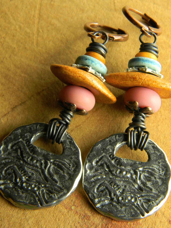 Rustic pewter horse charm earrings by Gloria Ewing.