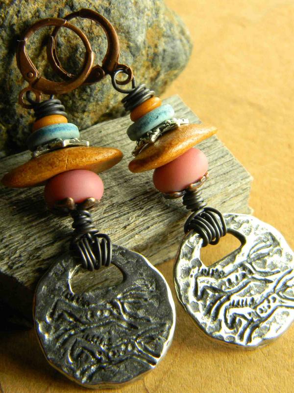 Desert color beaded earrings from Gloria Ewing.