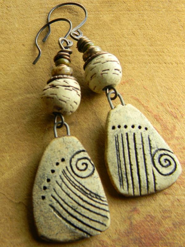 Artisan earthenware natural colored earrings.