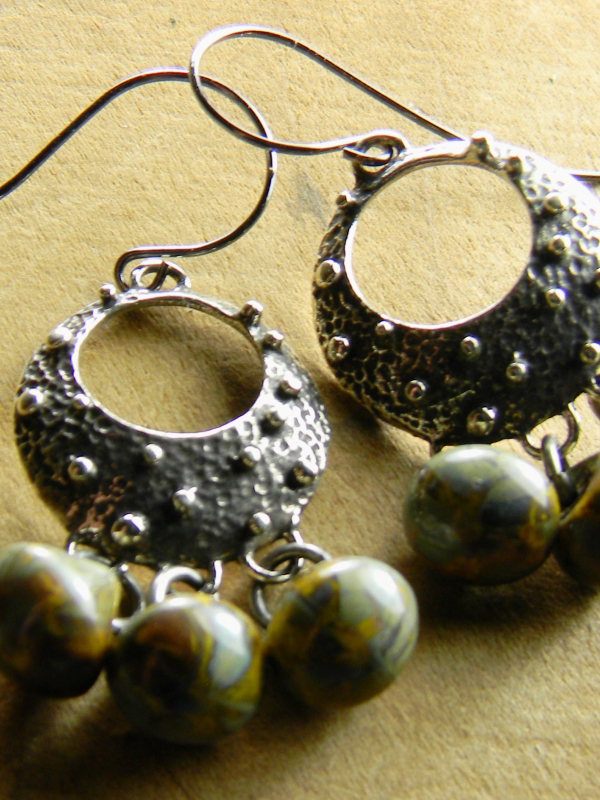 Textured gogo hoop earrings with Czech glass by Gloria Ewing.