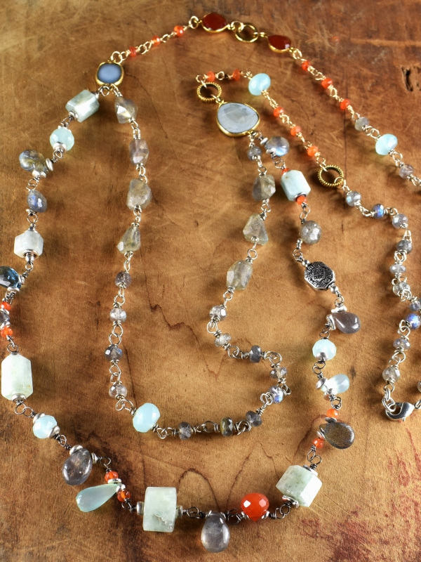 Sundance style gemstone beaded necklace by Gloria Ewing.