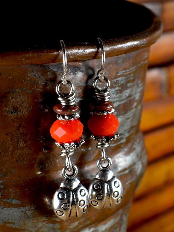 Bright red ladybug beaded earrings for teens by Gloria Ewing.