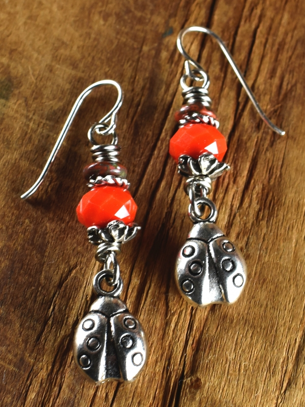 Casual red Czech glass beaded earrings for teens by Gloria Ewing.